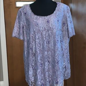 Plus size dressy top with floral lace cutouts